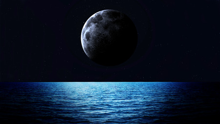 limpid: Rising moon over sea. Elements of this image furnished by NASA