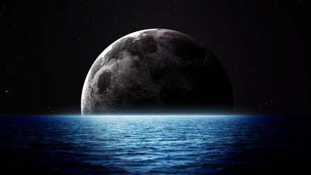 solitary: Rising moon over sea. Elements of this image furnished by NASA
