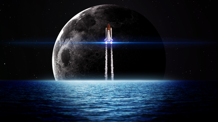 nasa: Rising moon over sea. Elements of this image furnished by NASA