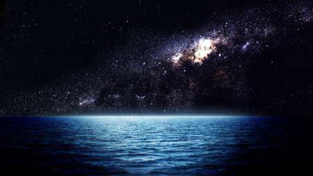 solitary: Sea at night. Elements of this image furnished by NASA