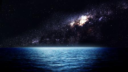 Sea 's nachts. Elementen van deze afbeelding geleverd door NASA Stockfoto - 47560570