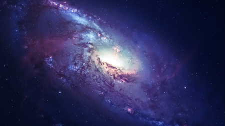 the universe: Awesome spiral galaxy many light years far from the Earth. Stock Photo