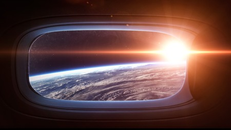 Earth planet in space ship window porthole. 版權商用圖片 - 47703425