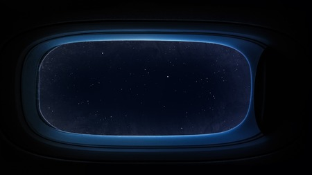 Beautiful cosmos in space ship window porthole.