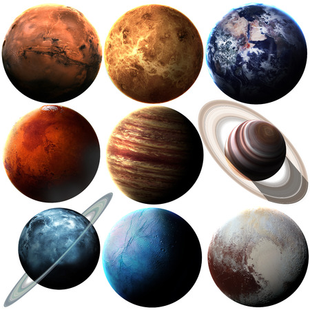 white  background: Hight quality solar system planets. Stock Photo