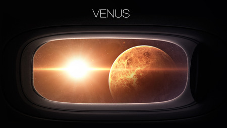 venus: Venus - Beauty of solar system planet in spaceship window porthole. Stock Photo
