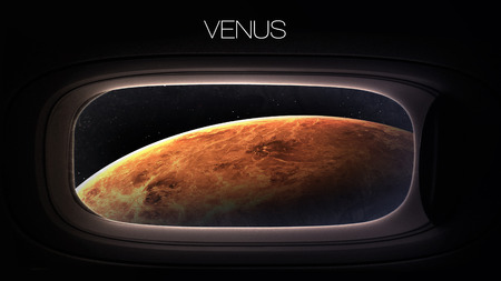 venus: Venus - Beauty of solar system planet in spaceship window porthole. Elements of this image furnished by NASA