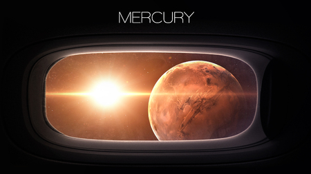 Mercury - Beauty of solar system planet in spaceship window porthole.