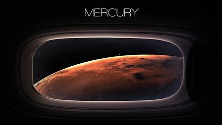 porthole window: Mercury - Beauty of solar system planet in spaceship window porthole.