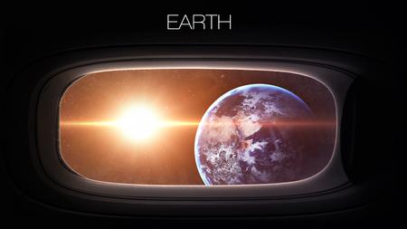 porthole window: Earth - Beauty of solar system planet in spaceship window porthole.