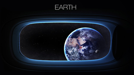 space: Earth - Beauty of solar system planet in spaceship window porthole.
