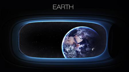 raumschiff: Erde - Schönheit des Sonnensystems Planeten in Raumschiff Fenster Bullauge.