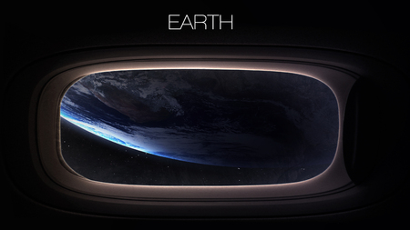spaceship: Earth - Beauty of solar system planet in spaceship window porthole.