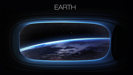 space station: Earth - Beauty of solar system planet in spaceship window porthole. Elements of this image furnished by NASA