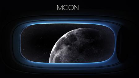 Luna - Belleza del planeta del sistema solar en la ventana de ojo de buey de la nave espacial.