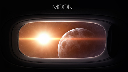 porthole window: Moon - Beauty of solar system planet in spaceship window porthole.