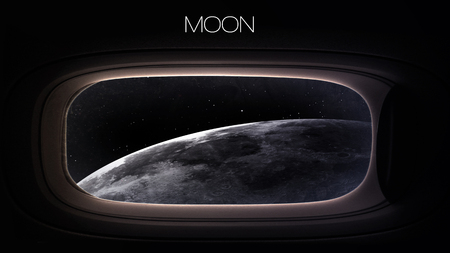 space station: Moon - Beauty of solar system planet in spaceship window porthole.