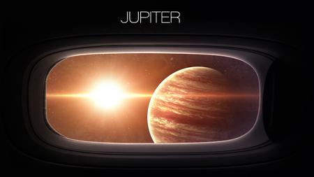 porthole window: Jupiter - Beauty of solar system planet in spaceship window porthole. Elements of this image furnished by NASA