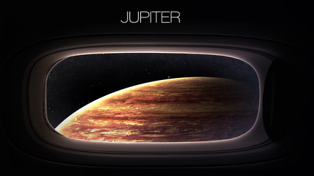 nasa: Jupiter - Beauty of solar system planet in spaceship window porthole. Elements of this image furnished by NASA