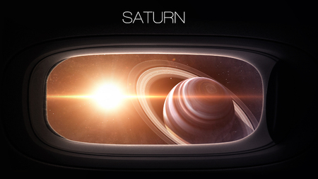 porthole window: Saturn - Beauty of solar system planet in spaceship window porthole. Elements of this image furnished by NASA