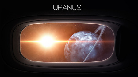 nasa: Uranus - Beauty of solar system planet in spaceship window porthole. Elements of this image furnished by NASA