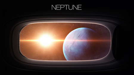 nasa: Neptune - Beauty of solar system planet in spaceship window porthole. Elements of this image furnished by NASA