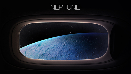 neptune: Neptune - Beauty of solar system planet in spaceship window porthole. Elements of this image furnished by NASA