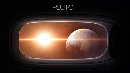 nasa: Pluto - Beauty of solar system planet in spaceship window porthole. Elements of this image furnished by NASA Stock Photo