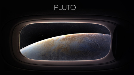 pluto: Pluto - Beauty of solar system planet in spaceship window porthole. Elements of this image furnished by NASA Stock Photo