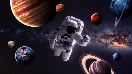 Astronaut in outer space.  Stock Photo