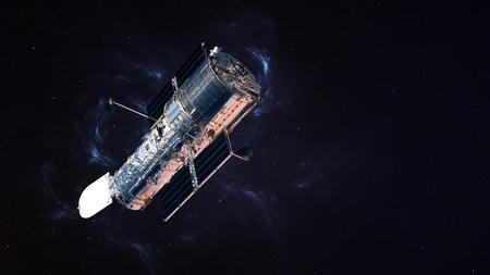 fernrohr: Das Hubble Weltraumteleskop in der Bahn über der Erde. Lizenzfreie Bilder
