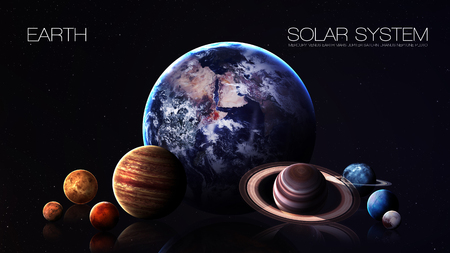 kepler: Earth - 5K resolution Infographic presents one of the solar system planet. Stock Photo
