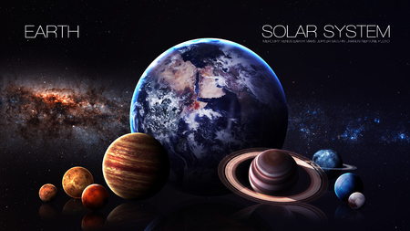 jupiter light: Earth - 5K resolution Infographic presents one of the solar system planet. Stock Photo
