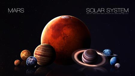 jupiter light: Mars - 5K resolution Infographic presents one of the solar system planet.