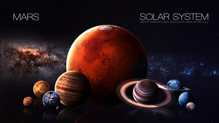kepler: Mars - 5K resolution Infographic presents one of the solar system planet. Stock Photo