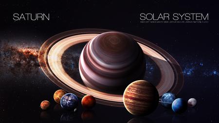 jupiter light: Saturn - 5K resolution Infographic presents one of the solar system planet.