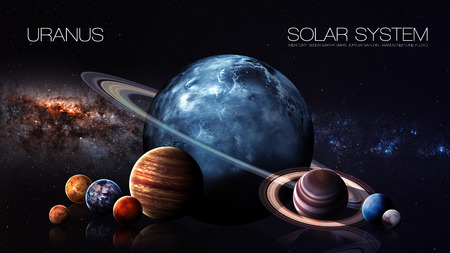 way: Uranus - 5K resolution Infographic presents one of the solar system planet. This image elements furnished by NASA. Stock Photo