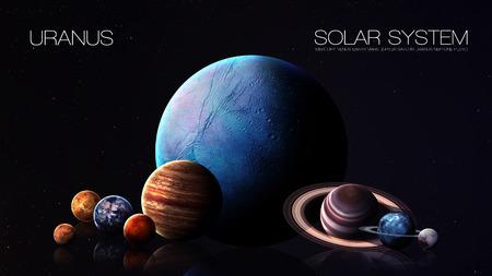 海王星 - 5 K 解像度インフォ グラフィックは太陽系の惑星の一つを提示します。
