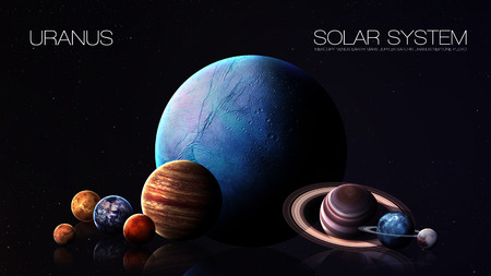 Neptune - 5K resolution Infographic presents one of the solar system planet.  Stok Fotoğraf