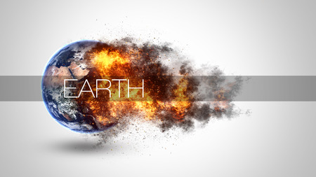 Abstract apocalyptic background - burning and exploding planet Earth.