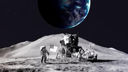 sun and moon: Astronaut on the moon.   Stock Photo