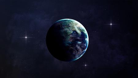 高解像度の地球のビュー。スター フィールドに地形や雲を示す空間世界の地球。