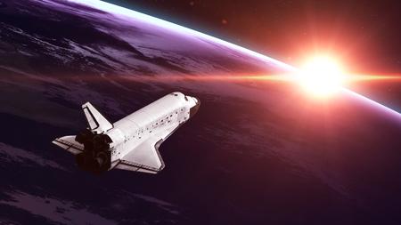 mision: El transbordador espacial despegando en una misión. Foto de archivo