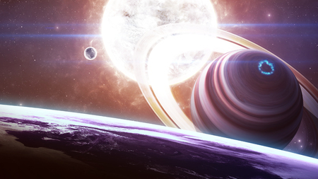 magnetic field: Beautiful giant planets in front of glowing star.  Stock Photo