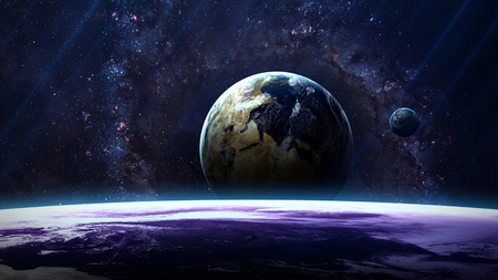 nebulae: Planet over the nebulae in space.  Stock Photo