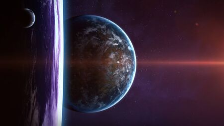nebulae: Planet over the nebulae in space. Elements of this image furnished by NASA