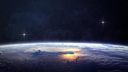 schöpfung: Planet über den Nebeln im Raum. Elemente dieses Bildes von der NASA eingerichtet Lizenzfreie Bilder