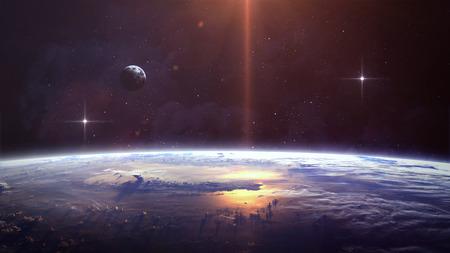 Planet over de nevels in de ruimte. Elementen van deze afbeelding geleverd door NASA Stockfoto