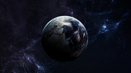 star field: High Resolution Planet Earth view. The World Globe from Space in a star field showing the terrain and clouds. Elements of this image are furnished by NASA