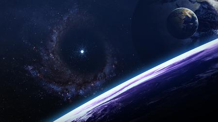 Escena del universo con planetas, estrellas y galaxias en el espacio exterior que muestran la belleza de la exploración espacial. Foto de archivo - 49893656